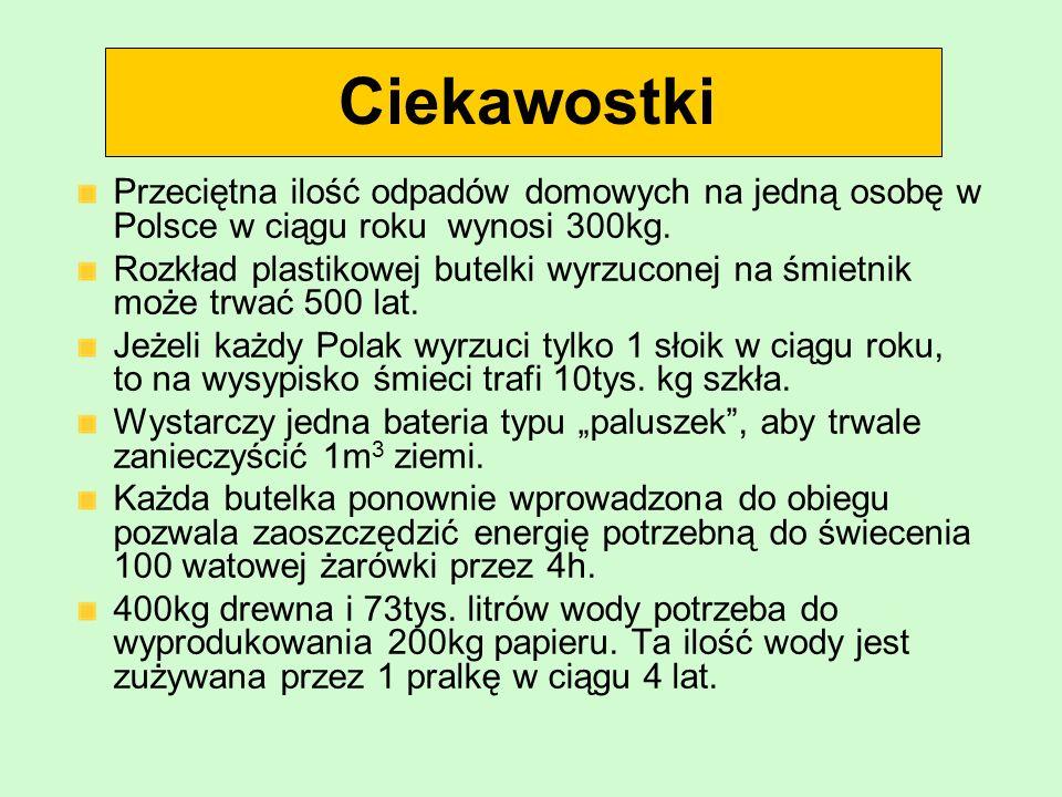 Ciekawostki Przeciętna ilość odpadów domowych na jedną osobę w Polsce w ciągu roku wynosi 300kg.