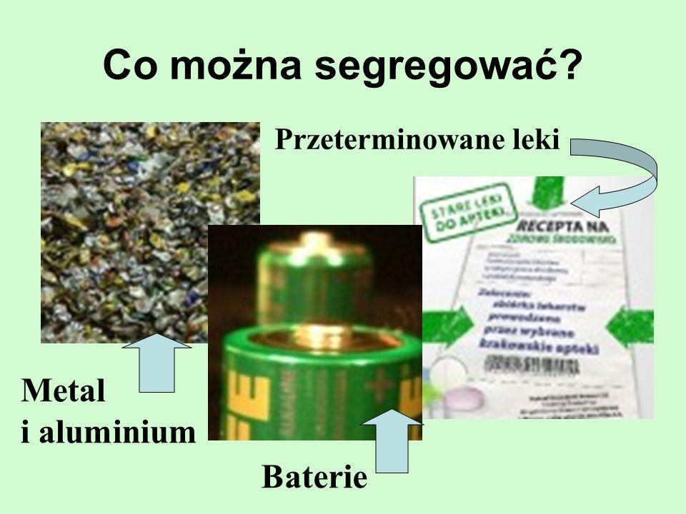 Co można segregować Przeterminowane leki Metal i aluminium Baterie