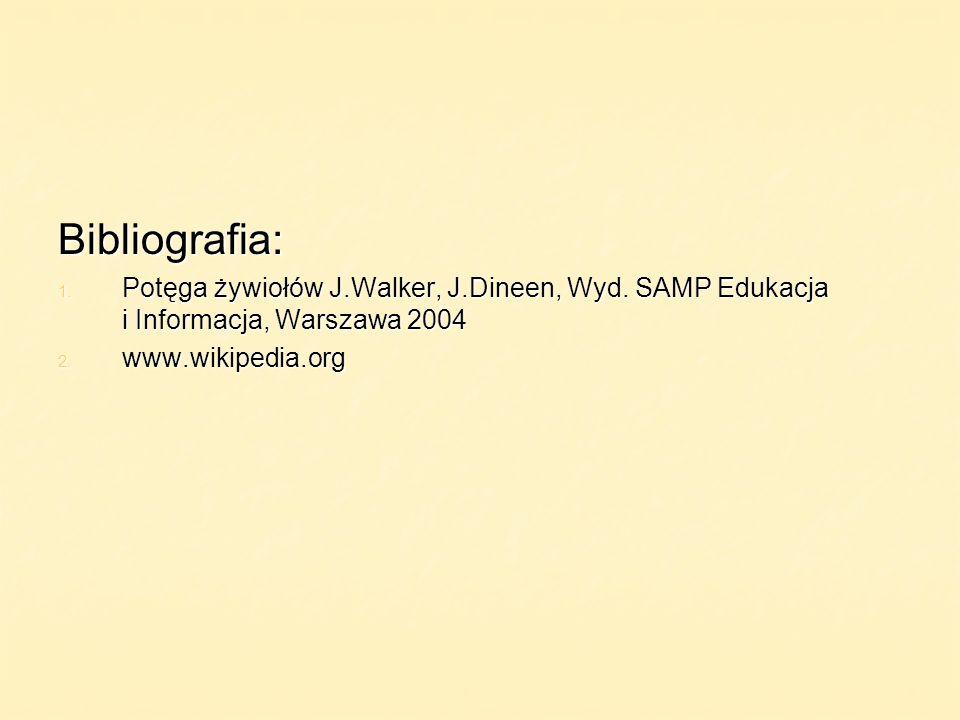 Bibliografia:Potęga żywiołów J.Walker, J.Dineen, Wyd. SAMP Edukacja i Informacja, Warszawa 2004.