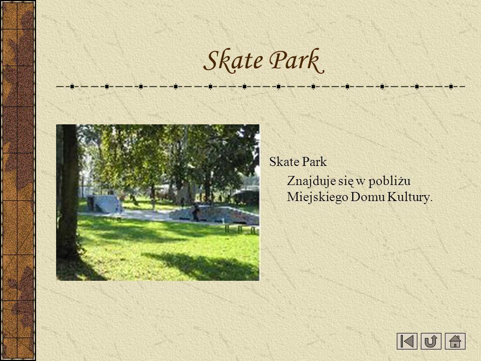 Skate Park Skate Park Znajduje się w pobliżu Miejskiego Domu Kultury.