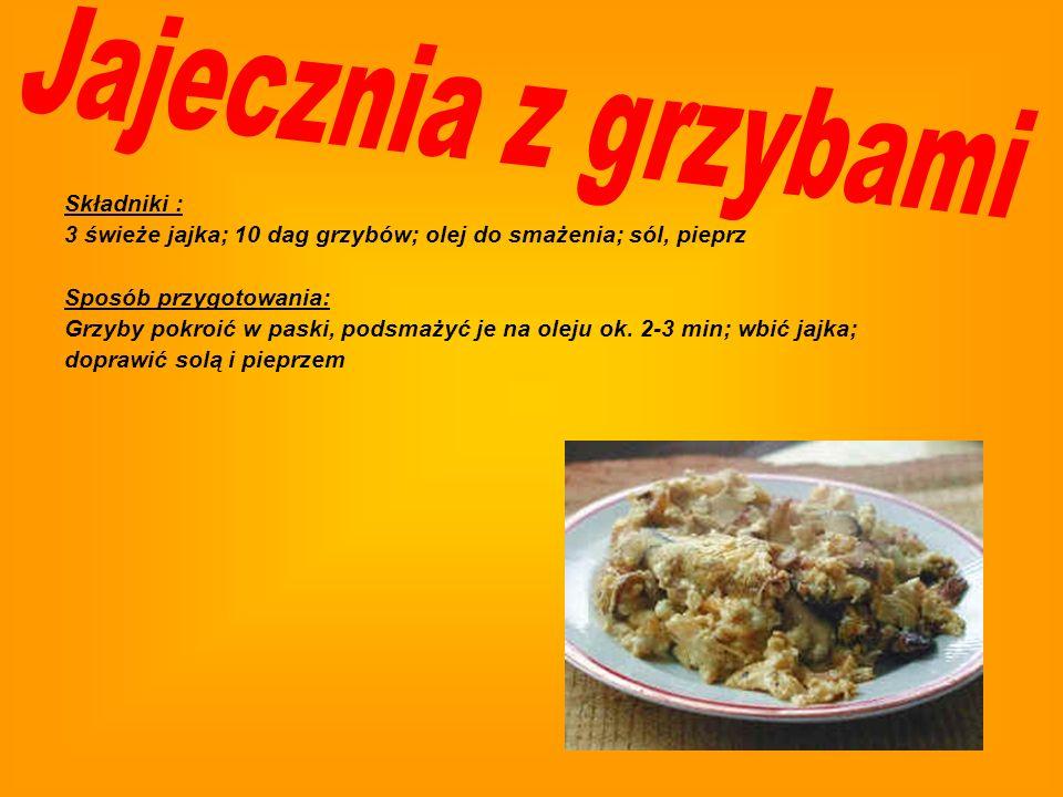 Jajecznia z grzybami Składniki :