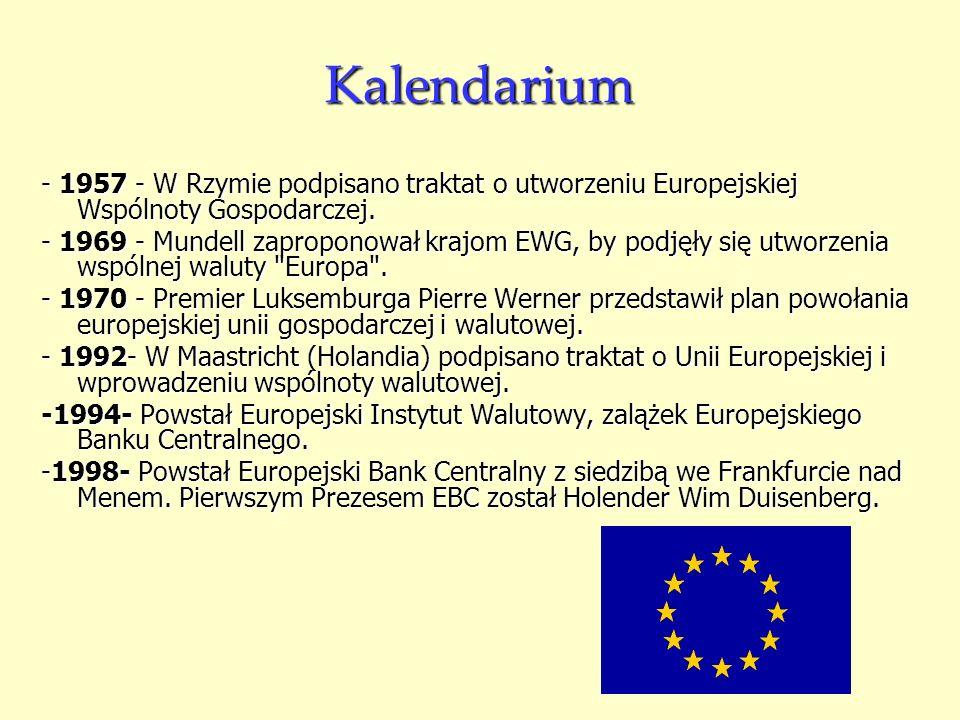 Kalendarium- 1957 - W Rzymie podpisano traktat o utworzeniu Europejskiej Wspólnoty Gospodarczej.