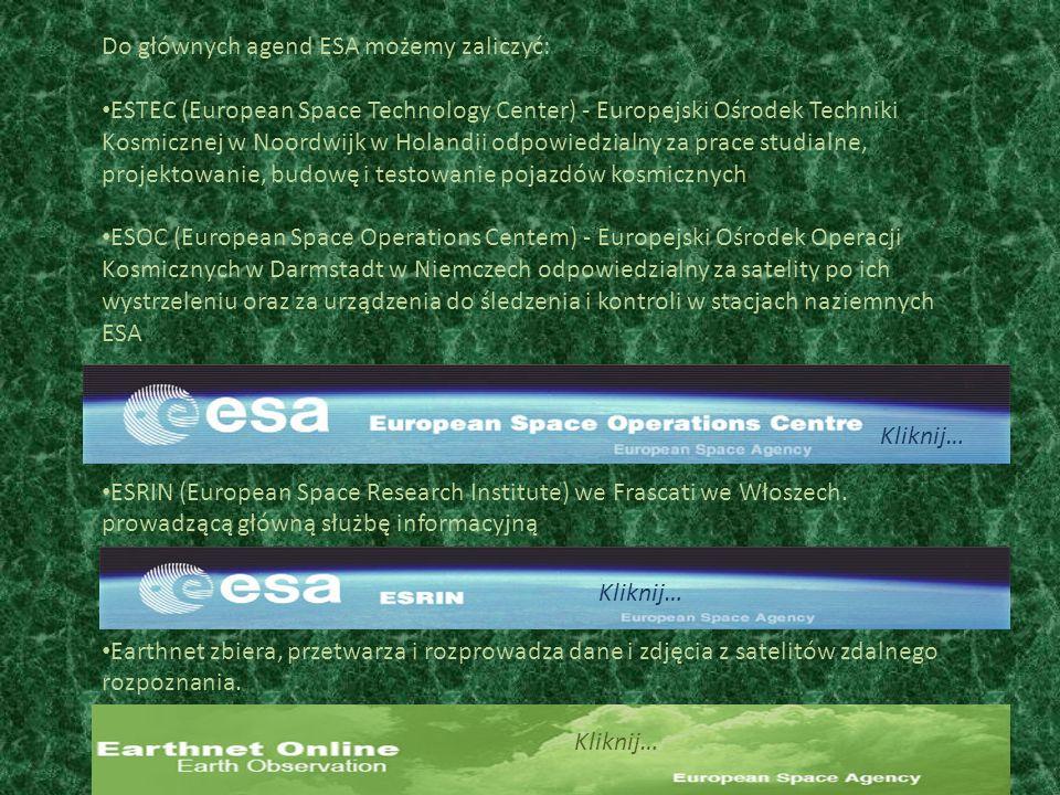 Do głównych agend ESA możemy zaliczyć: