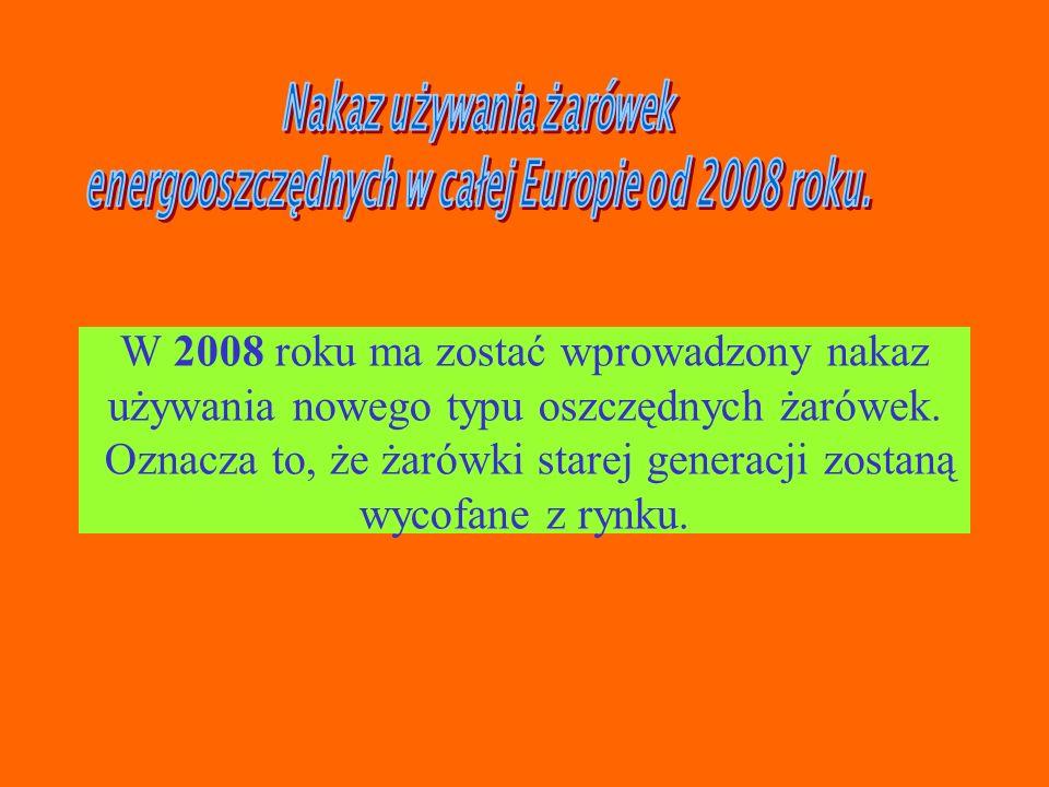 Nakaz używania żarówek energooszczędnych w całej Europie od 2008 roku.