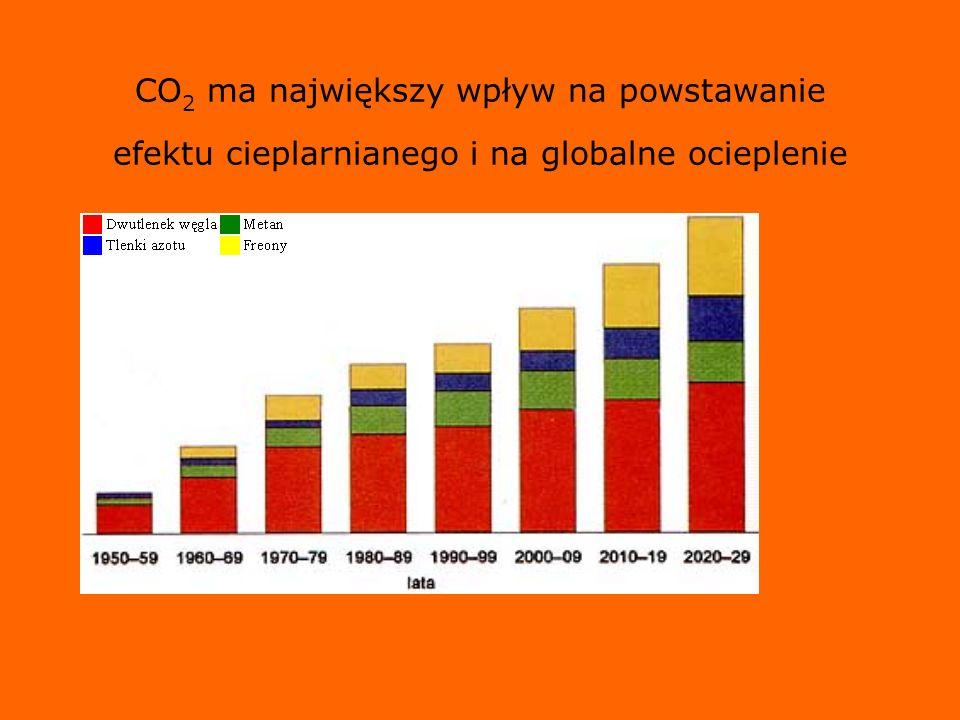 CO2 ma największy wpływ na powstawanie efektu cieplarnianego i na globalne ocieplenie