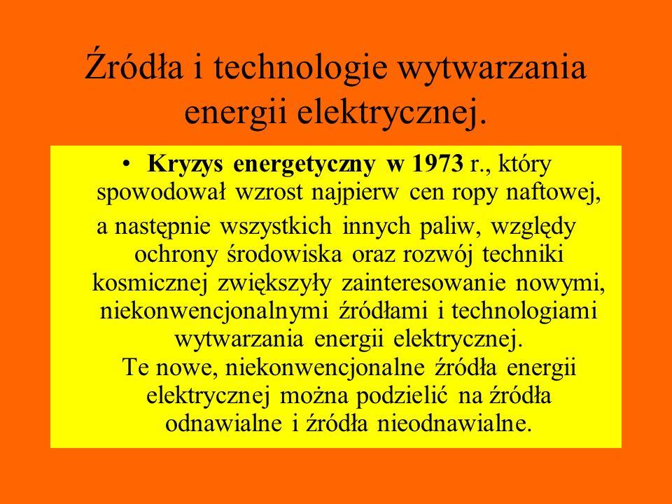 Źródła i technologie wytwarzania energii elektrycznej.