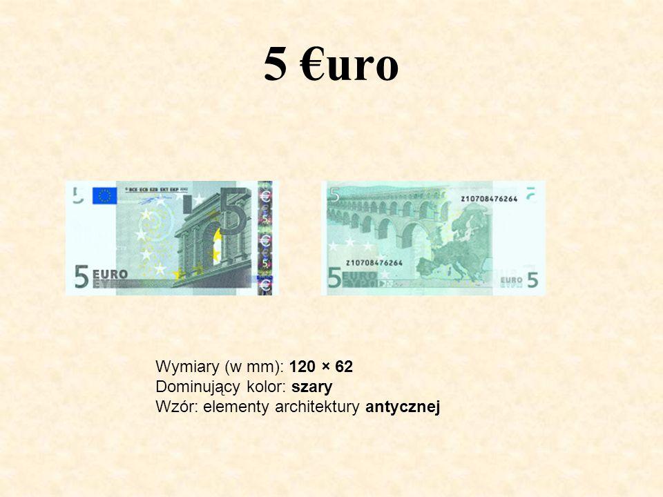 5 €uro Wymiary (w mm): 120 × 62 Dominujący kolor: szary Wzór: elementy architektury antycznej