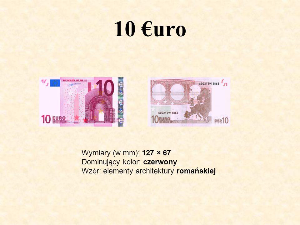 10 €uro Wymiary (w mm): 127 × 67 Dominujący kolor: czerwony Wzór: elementy architektury romańskiej
