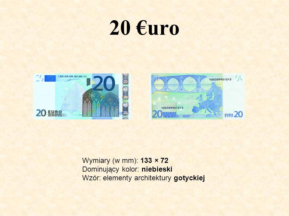 20 €uro Wymiary (w mm): 133 × 72 Dominujący kolor: niebieski Wzór: elementy architektury gotyckiej