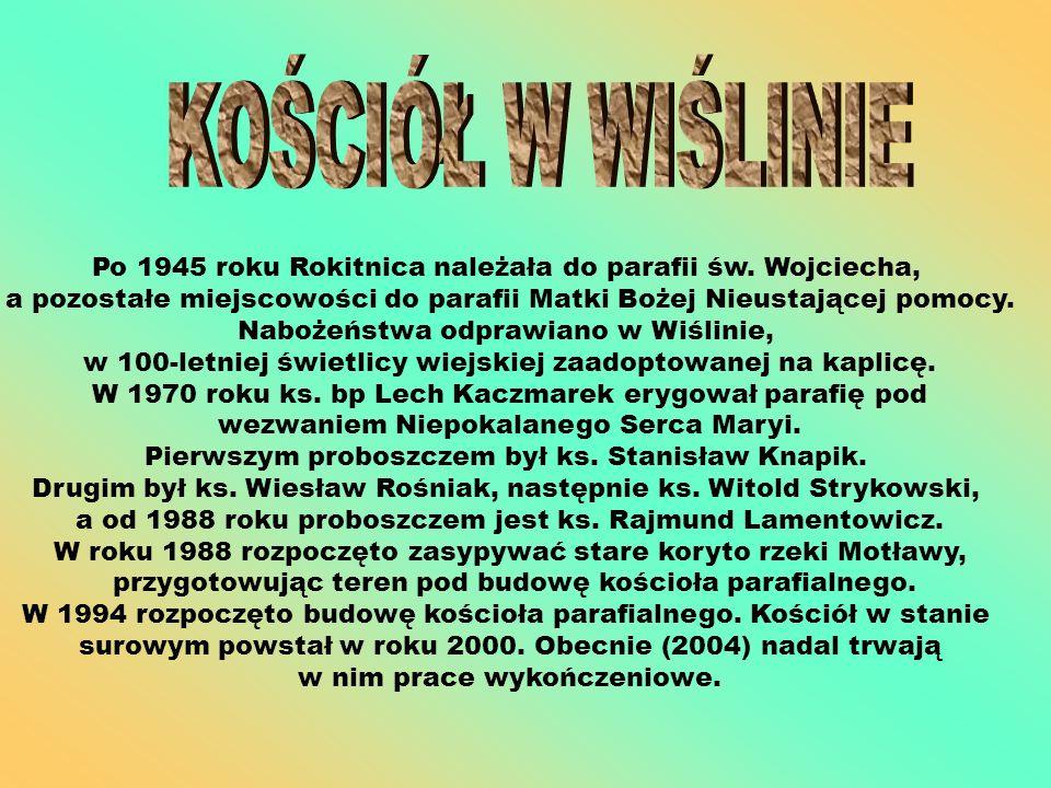 KOŚCIÓŁ W WIŚLINIE Po 1945 roku Rokitnica należała do parafii św. Wojciecha,