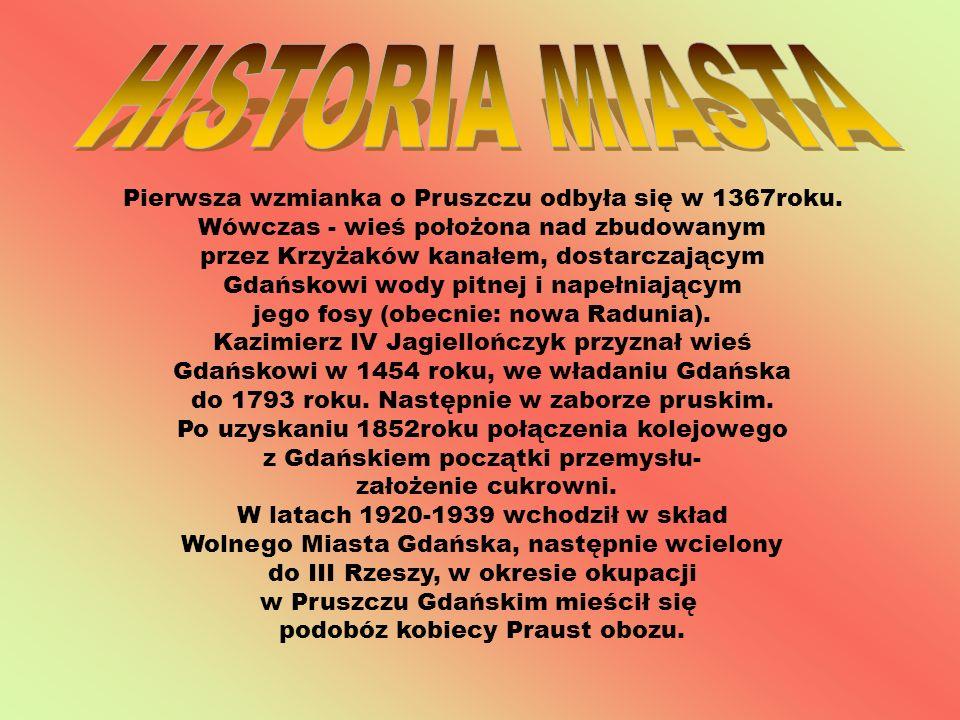 HISTORIA MIASTA Pierwsza wzmianka o Pruszczu odbyła się w 1367roku.
