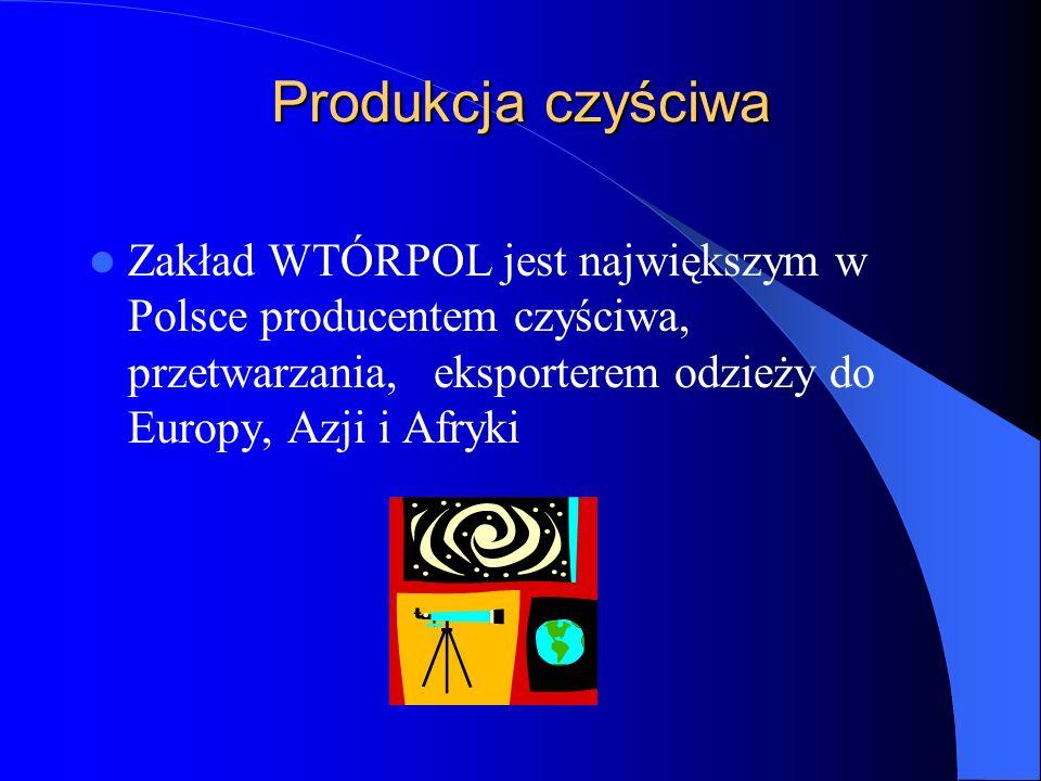 Produkcja czyściwa Zakład WTÓRPOL jest największym w Polsce producentem czyściwa, przetwarzania, eksporterem odzieży do Europy, Azji i Afryki.