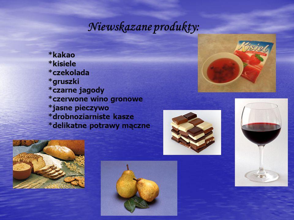 Niewskazane produkty: