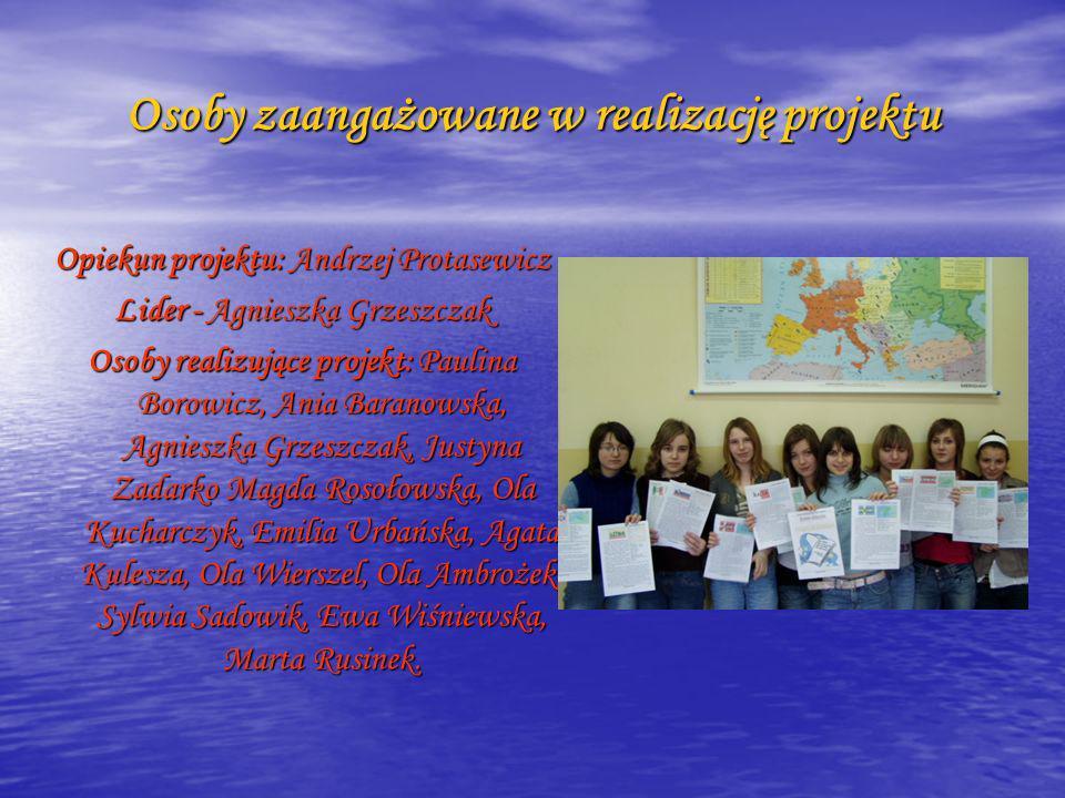 Osoby zaangażowane w realizację projektu
