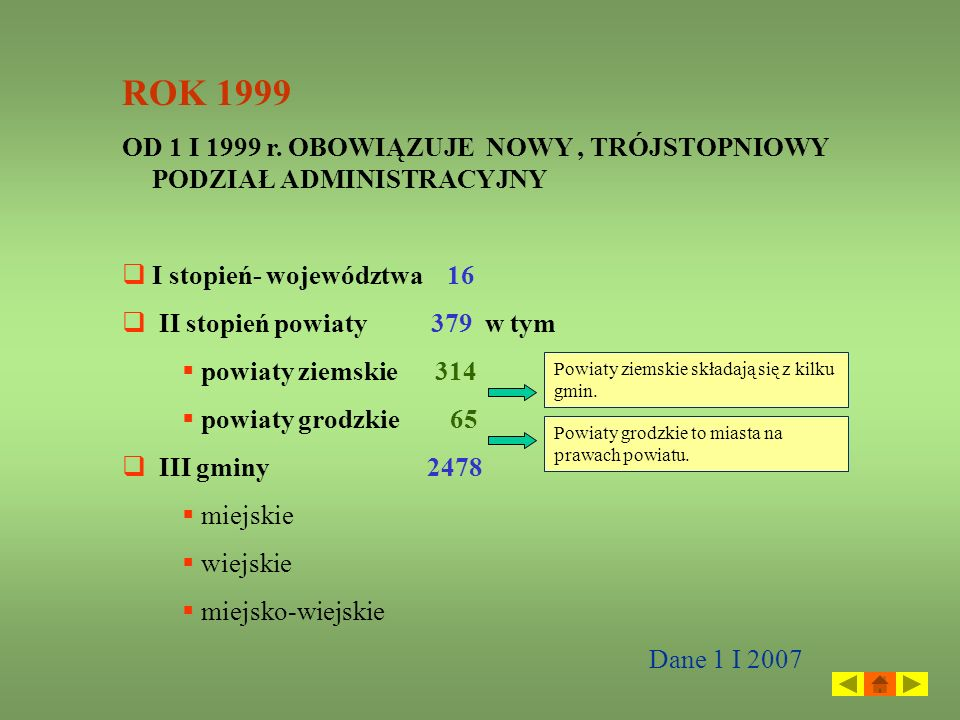 ROK 1999OD 1 I 1999 r. OBOWIĄZUJE NOWY , TRÓJSTOPNIOWY PODZIAŁ ADMINISTRACYJNY. I stopień- województwa 16.