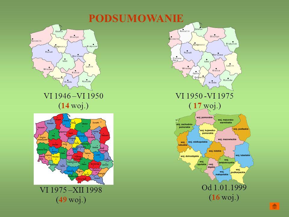 PODSUMOWANIE VI 1946 –VI 1950 (14 woj.) VI 1950 -VI 1975 ( 17 woj.)