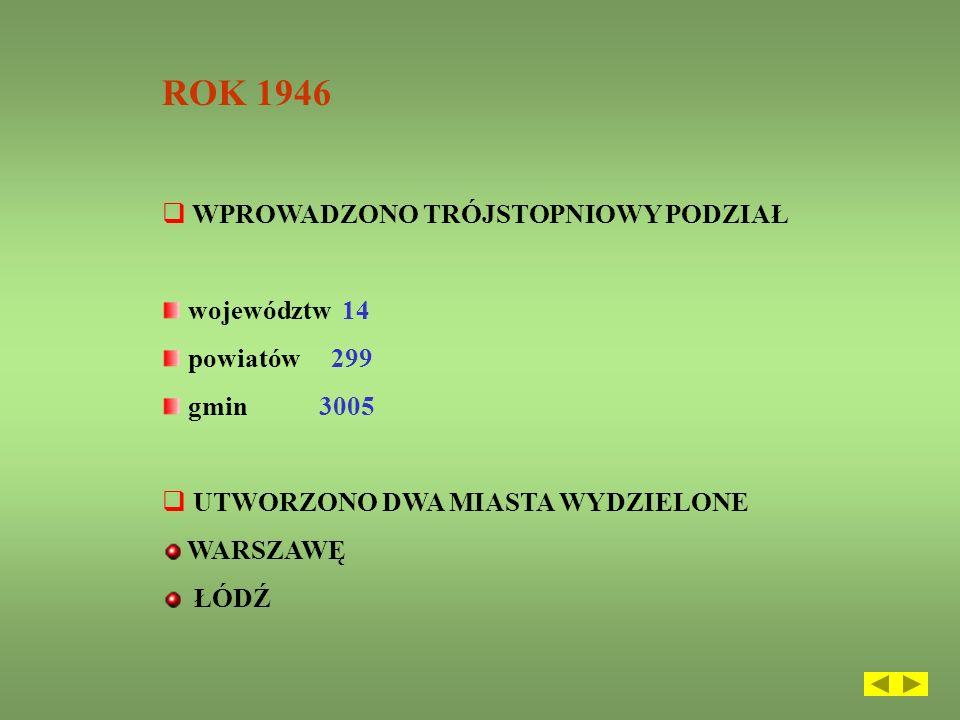 ROK 1946 WPROWADZONO TRÓJSTOPNIOWY PODZIAŁ województw 14 powiatów 299