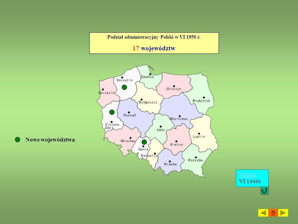 Podział administracyjny Polski w VI 1950 r.