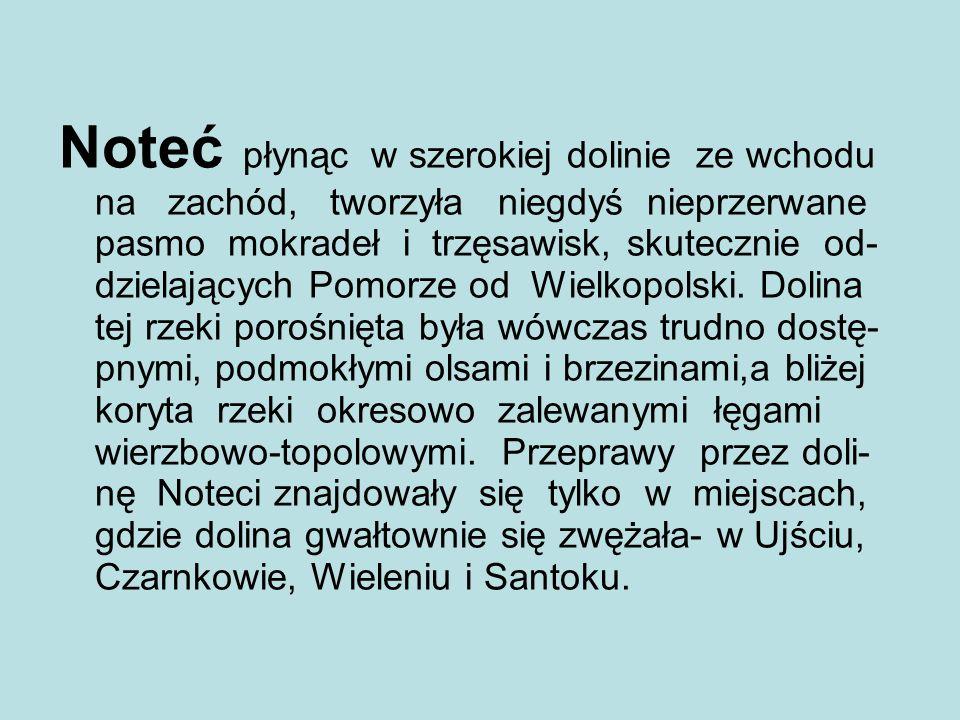 Noteć płynąc w szerokiej dolinie ze wchodu na zachód, tworzyła niegdyś nieprzerwane pasmo mokradeł i trzęsawisk, skutecznie od- dzielających Pomorze od Wielkopolski.