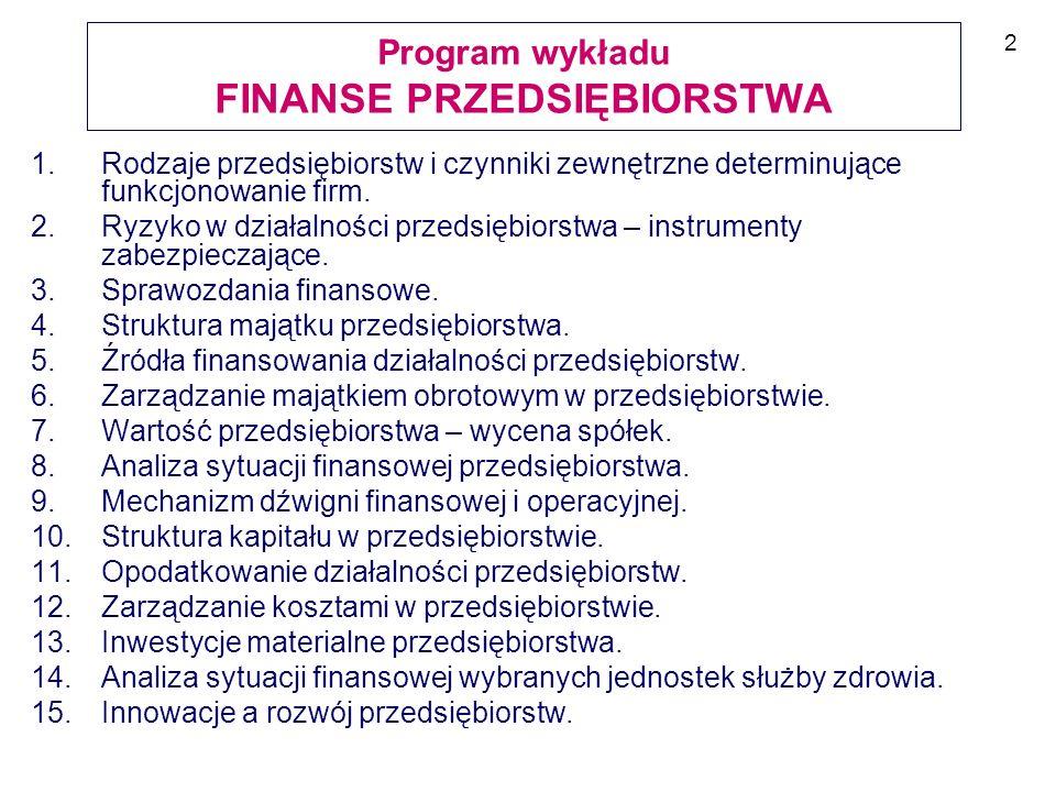 Program wykładu FINANSE PRZEDSIĘBIORSTWA
