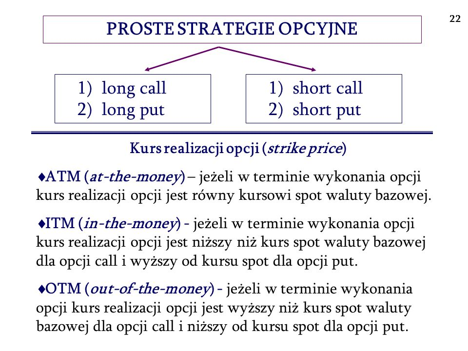 PROSTE STRATEGIE OPCYJNE Kurs realizacji opcji (strike price)