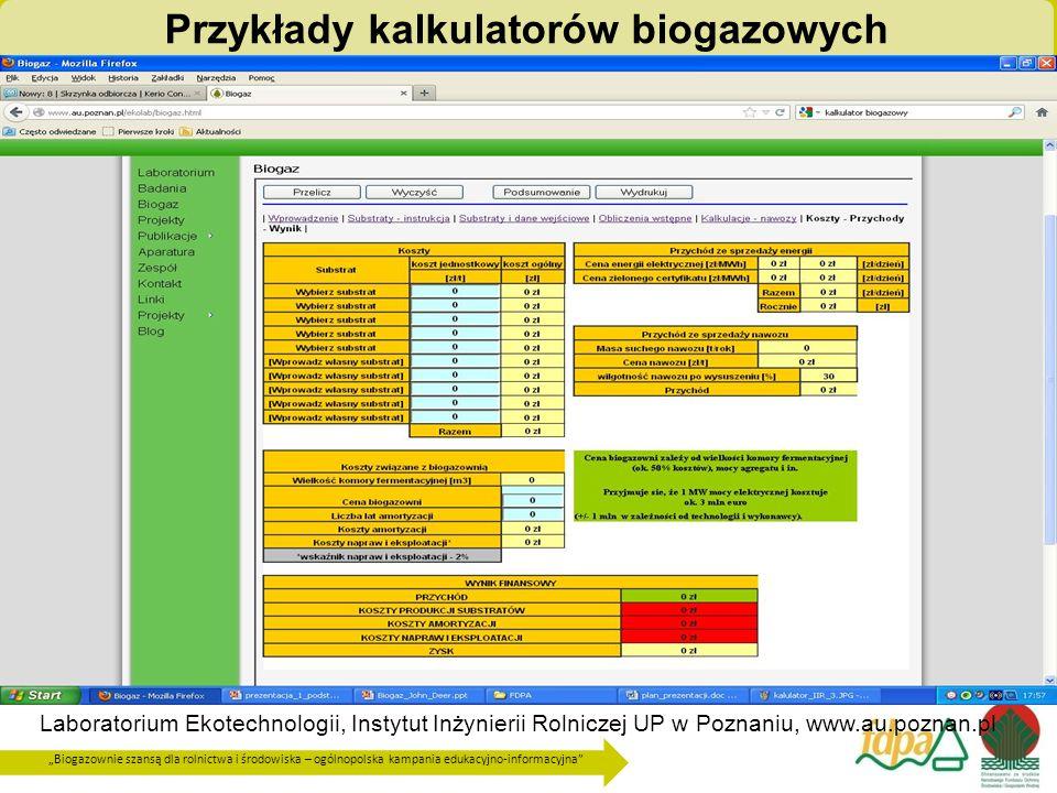 Przykłady kalkulatorów biogazowych