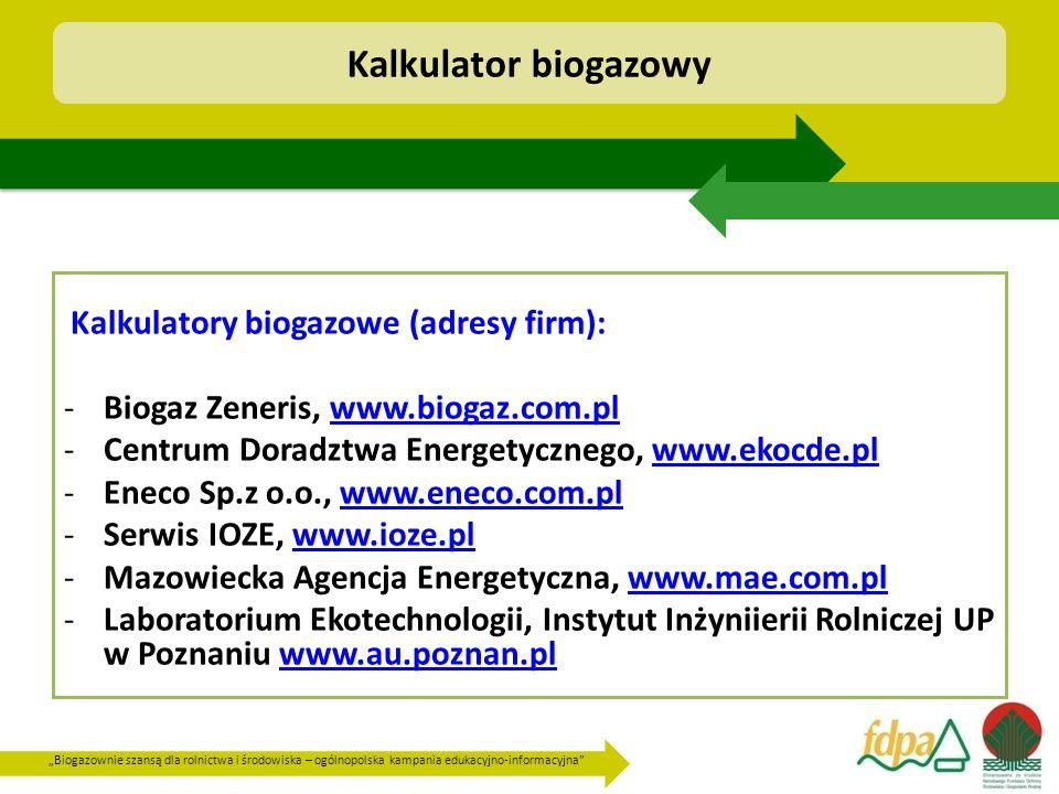 Kalkulator biogazowy Biogaz Zeneris, www.biogaz.com.pl
