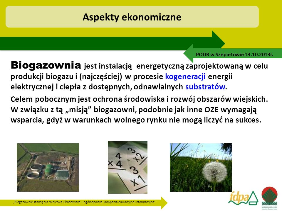 Aspekty ekonomiczne PODR w Szepietowie 13.10.2013r.