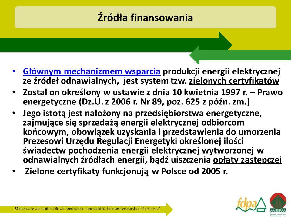 Źródła finansowania Głównym mechanizmem wsparcia produkcji energii elektrycznej ze źródeł odnawialnych, jest system tzw. zielonych certyfikatów.