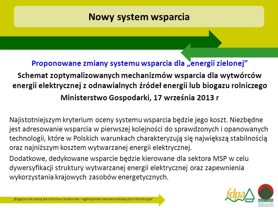 """Nowy system wsparcia Proponowane zmiany systemu wsparcia dla """"energii zielonej"""