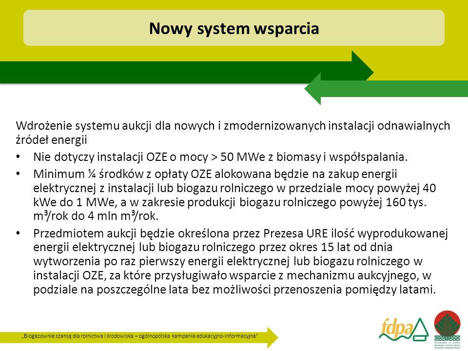 Nowy system wsparcia Wdrożenie systemu aukcji dla nowych i zmodernizowanych instalacji odnawialnych źródeł energii.
