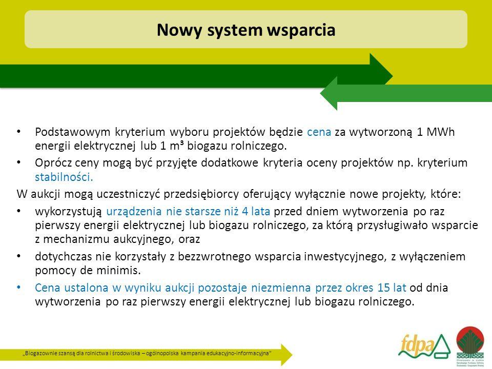 Nowy system wsparcia Podstawowym kryterium wyboru projektów będzie cena za wytworzoną 1 MWh energii elektrycznej lub 1 m³ biogazu rolniczego.