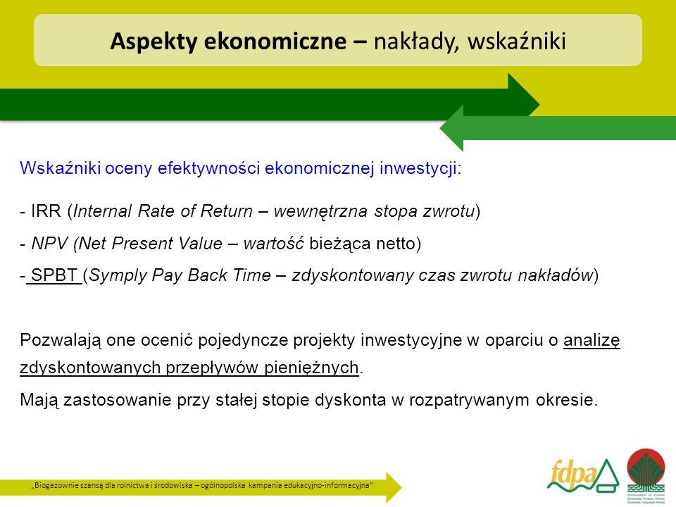 Aspekty ekonomiczne – nakłady, wskaźniki