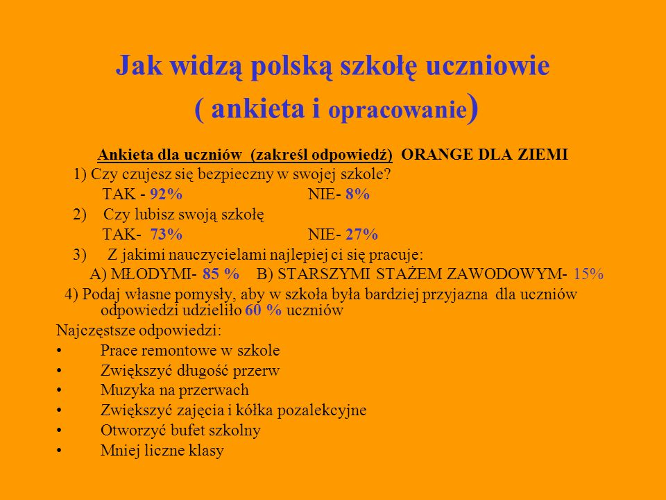 Jak widzą polską szkołę uczniowie ( ankieta i opracowanie)
