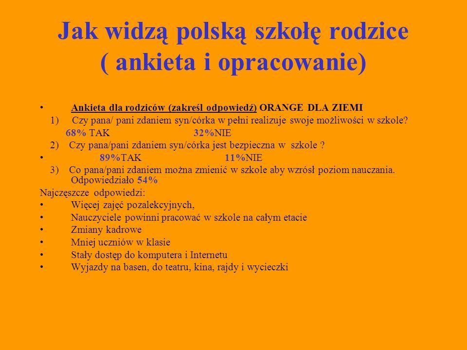 Jak widzą polską szkołę rodzice ( ankieta i opracowanie)