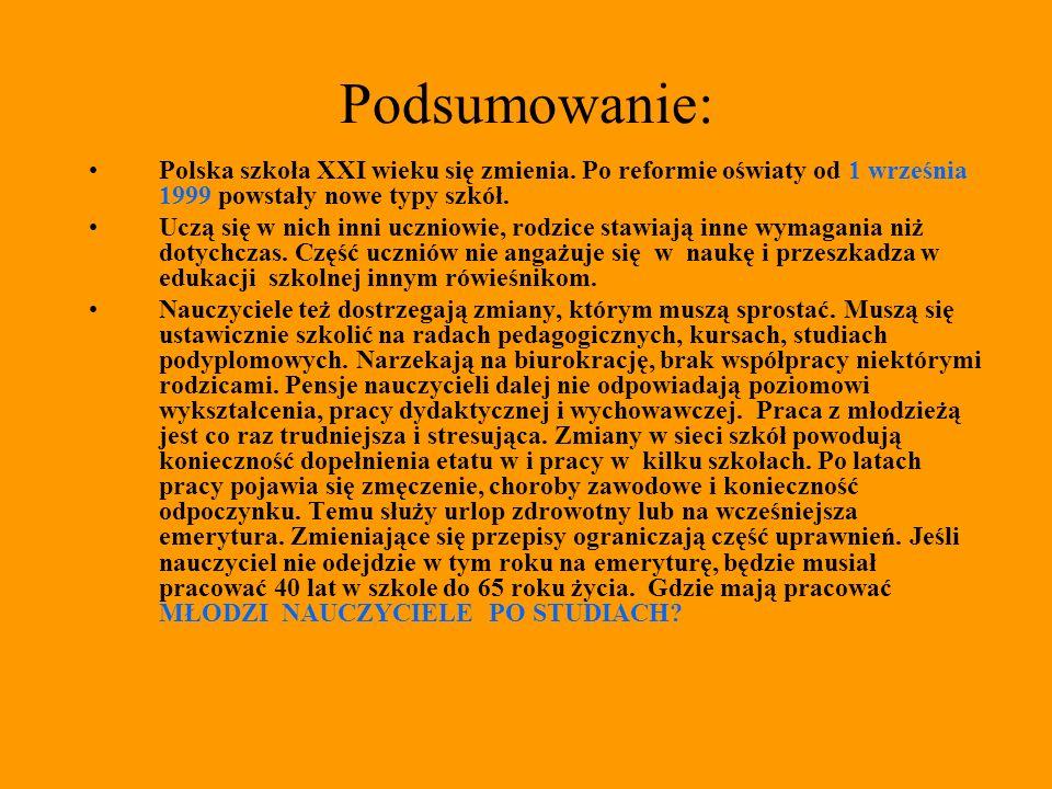 Podsumowanie: Polska szkoła XXI wieku się zmienia. Po reformie oświaty od 1 września 1999 powstały nowe typy szkół.