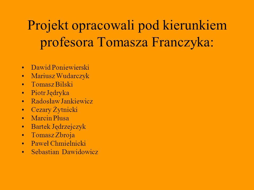 Projekt opracowali pod kierunkiem profesora Tomasza Franczyka: