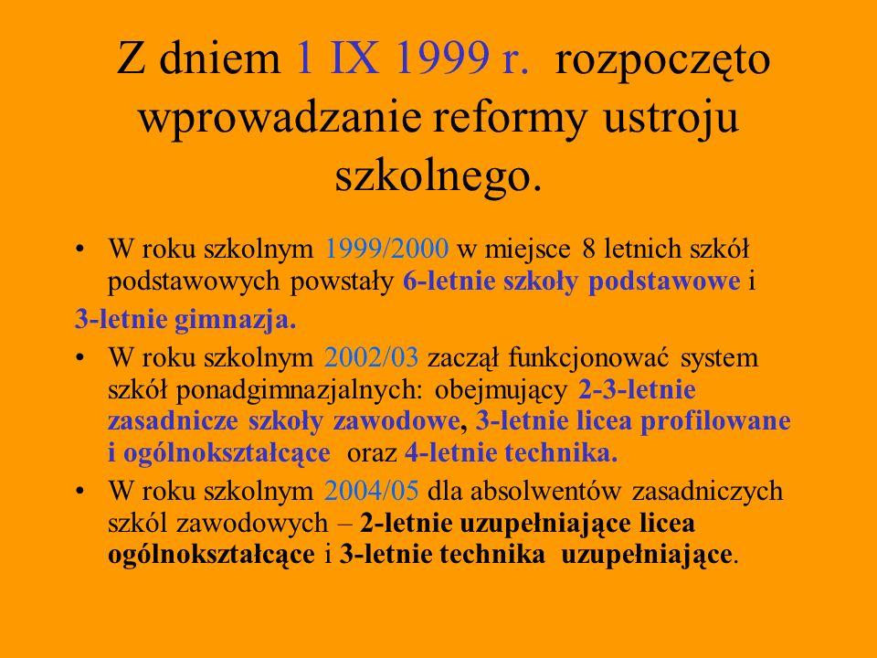 Z dniem 1 IX 1999 r. rozpoczęto wprowadzanie reformy ustroju szkolnego.