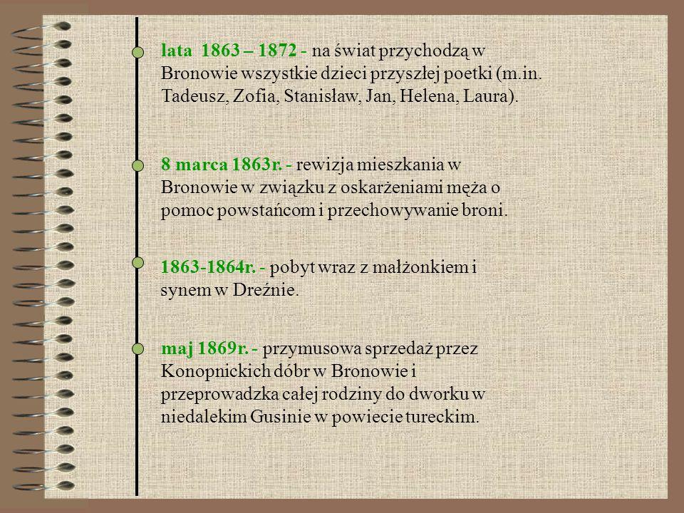 lata 1863 – 1872 - na świat przychodzą w Bronowie wszystkie dzieci przyszłej poetki (m.in. Tadeusz, Zofia, Stanisław, Jan, Helena, Laura).