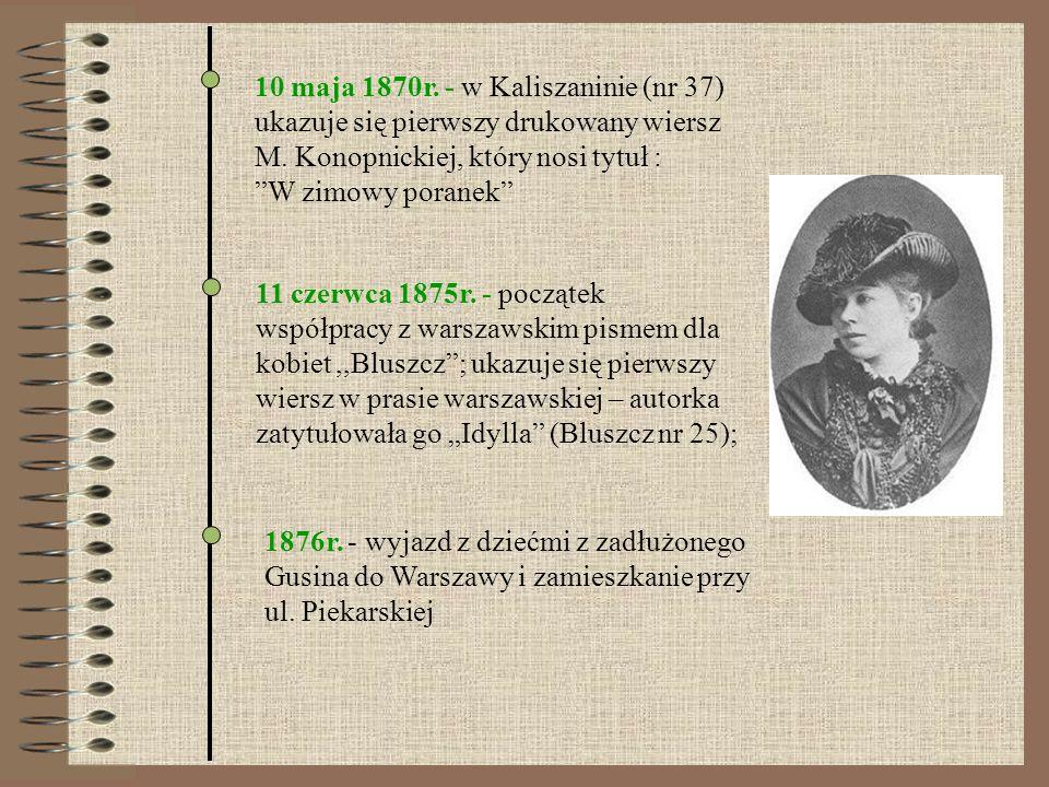 10 maja 1870r. - w Kaliszaninie (nr 37) ukazuje się pierwszy drukowany wiersz M. Konopnickiej, który nosi tytuł : W zimowy poranek