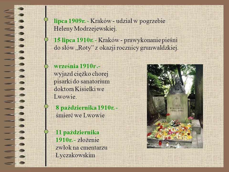 lipca 1909r. - Kraków - udział w pogrzebie Heleny Modrzejewskiej.