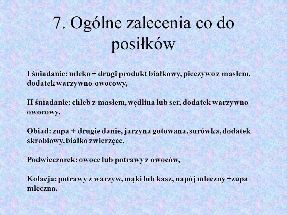 7. Ogólne zalecenia co do posiłków