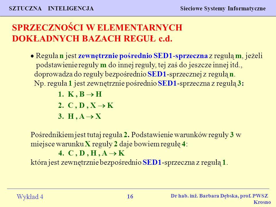 SPRZECZNOŚCI W ELEMENTARNYCH DOKŁADNYCH BAZACH REGUŁ c.d.