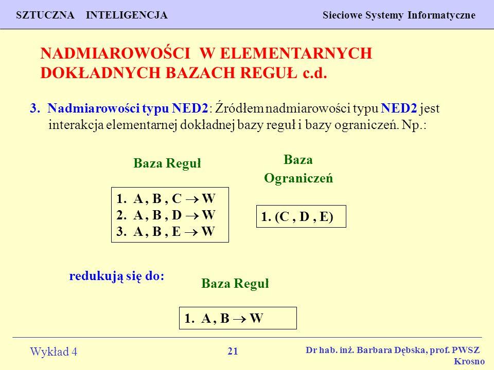 NADMIAROWOŚCI W ELEMENTARNYCH DOKŁADNYCH BAZACH REGUŁ c.d.