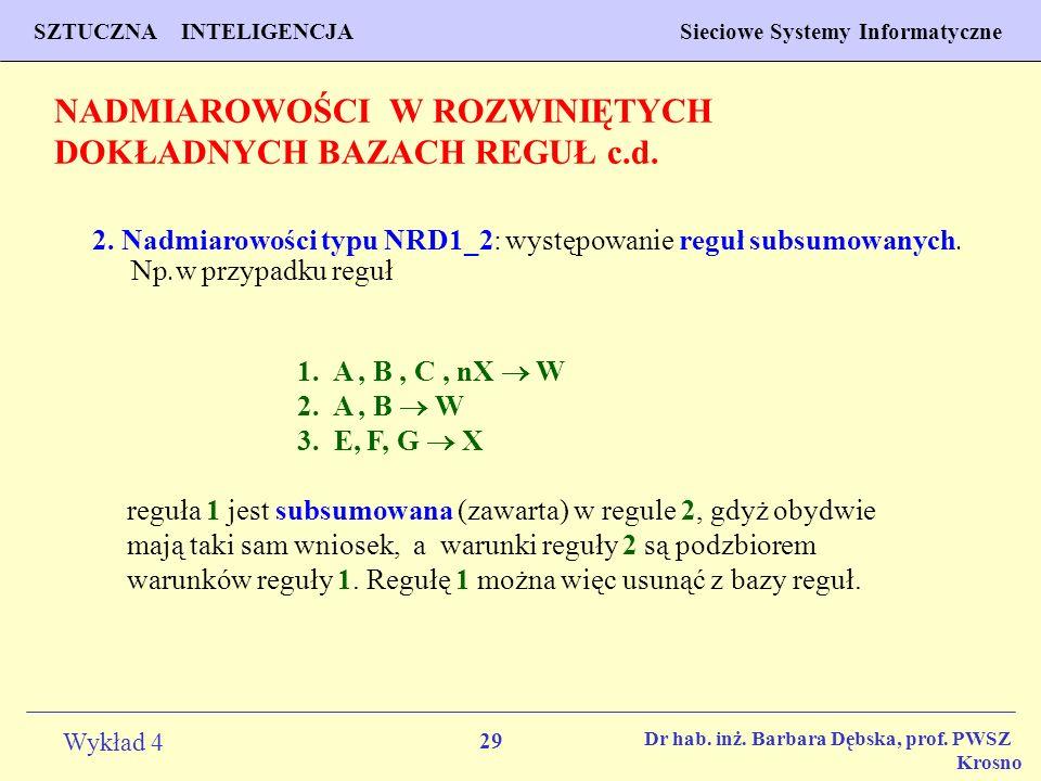 NADMIAROWOŚCI W ROZWINIĘTYCH DOKŁADNYCH BAZACH REGUŁ c.d.