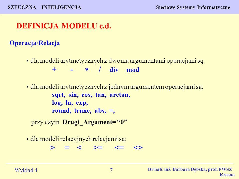 DEFINICJA MODELU c.d. Operacja/Relacja