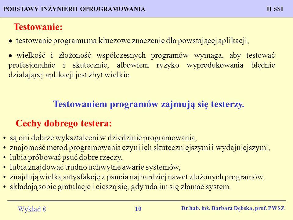 Testowaniem programów zajmują się testerzy.