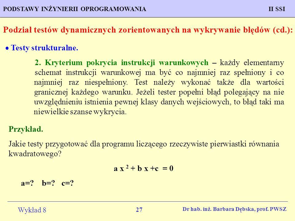 Podział testów dynamicznych zorientowanych na wykrywanie błędów (cd.):