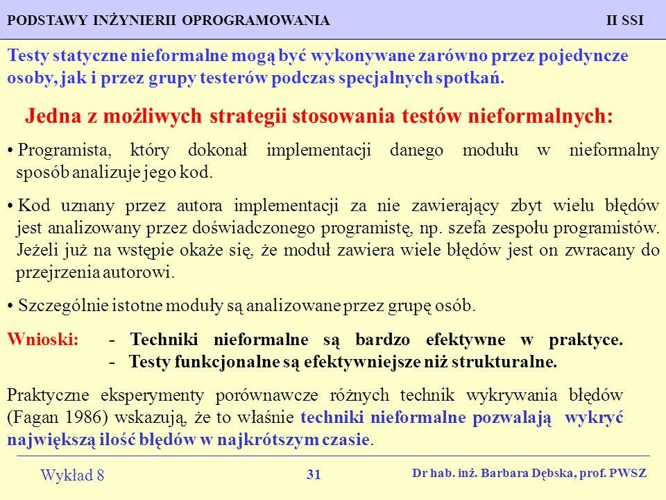 Jedna z możliwych strategii stosowania testów nieformalnych: