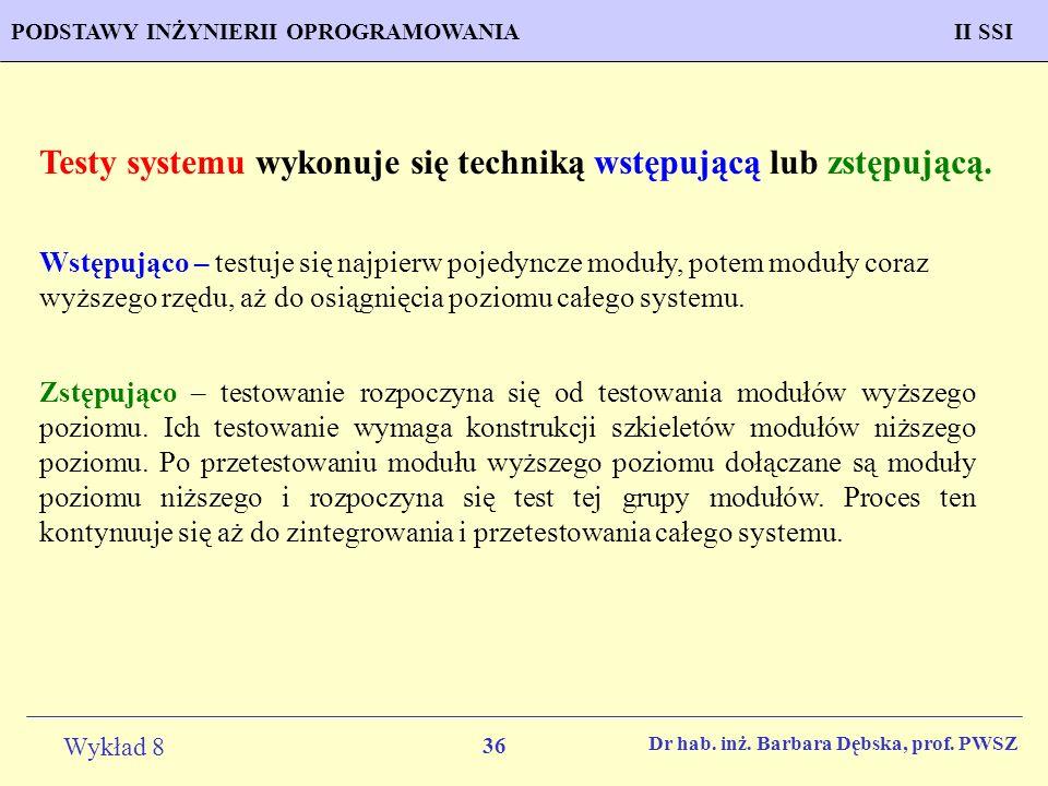 Testy systemu wykonuje się techniką wstępującą lub zstępującą.